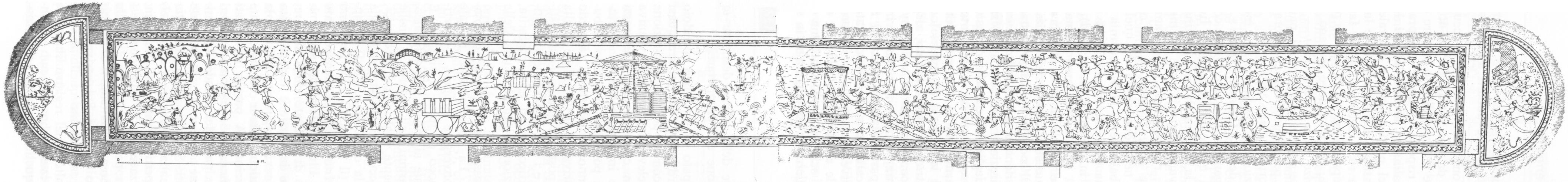 """Drawing from G. V. Gentili: """"La villa Erculia di Piazza Armerina. I mosaici figurati"""", Roma, 1959."""