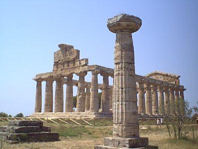 Paestum - Temple of Athena and votive column