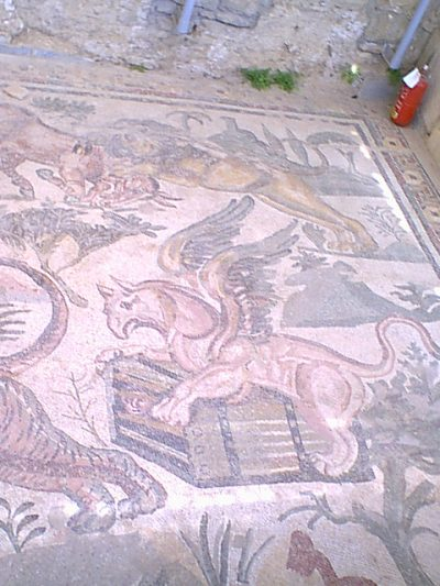 Villa Romana del Casale - a griffin baited with a human in a cage