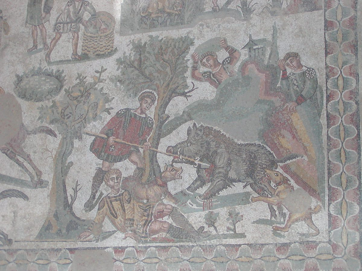 Villa Romana del Casale - mosaic of dramatic wild boar hunt
