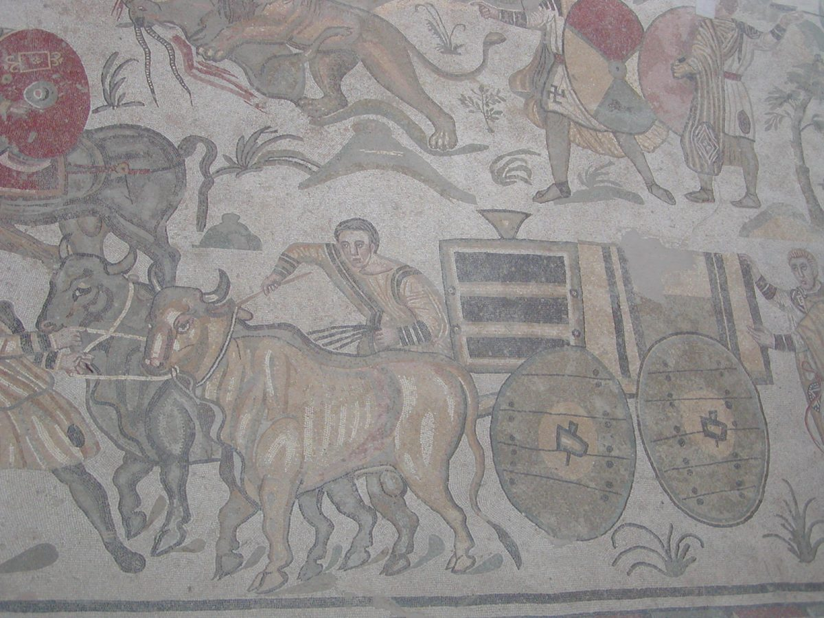 Villa Romana del Casale - captured animals transported in cages