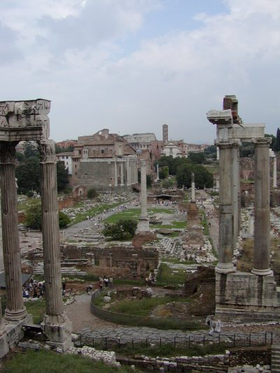 The central square of the Forum Romanum seen from the Tabularium