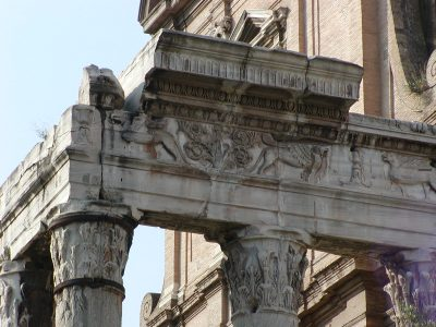 Detail of the entablature of the Temple of Antoninus and Faustina