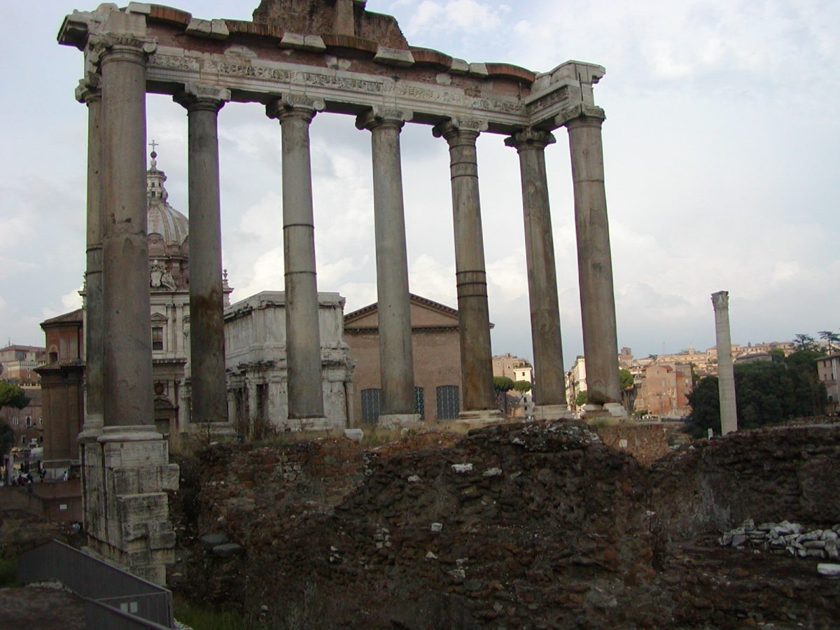 The remains of the Temple of Saturn in the Forum Romanum in Rome