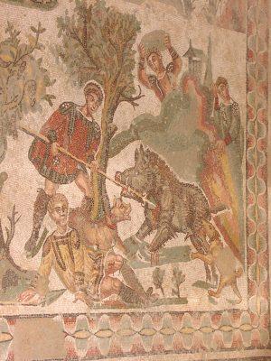 Villa Romana del Casale - mosaic with a hunt for wild boar