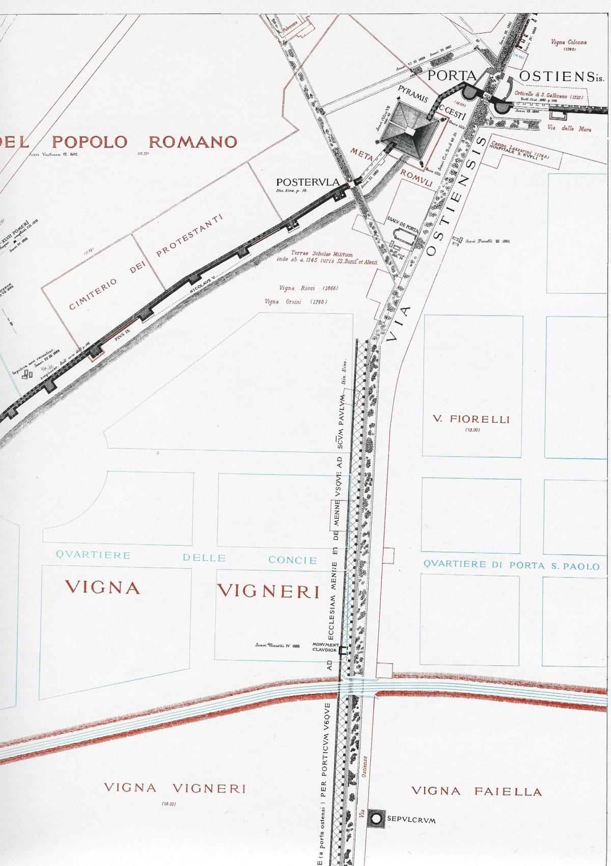 Lanciani: Forma Urbis Romae - 44-porta-ostiense